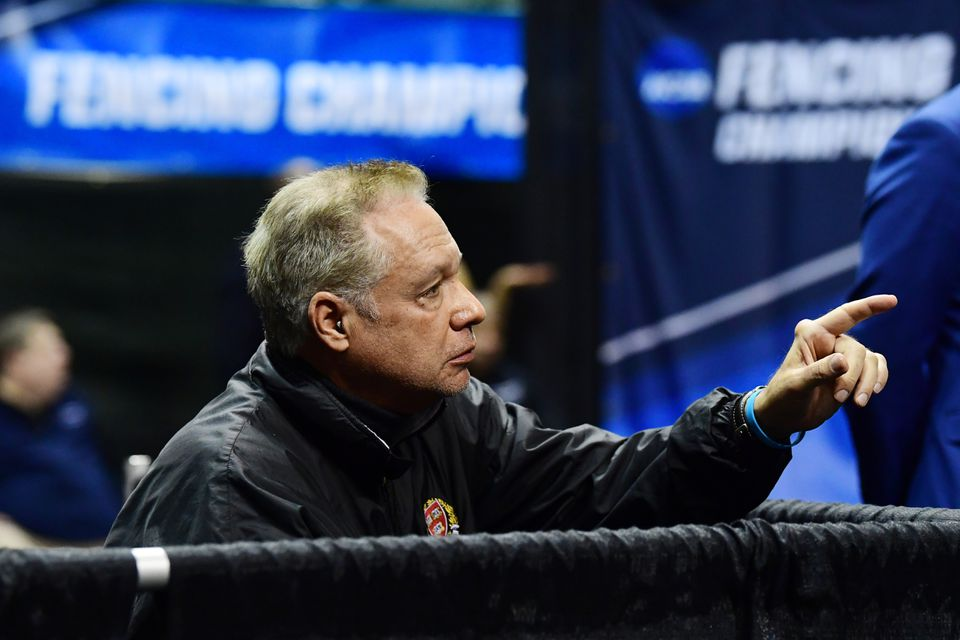 Harvard's fencing coach, Peter Brand, during the Division I Women's Fencing Championship on March 24 in Cleveland.