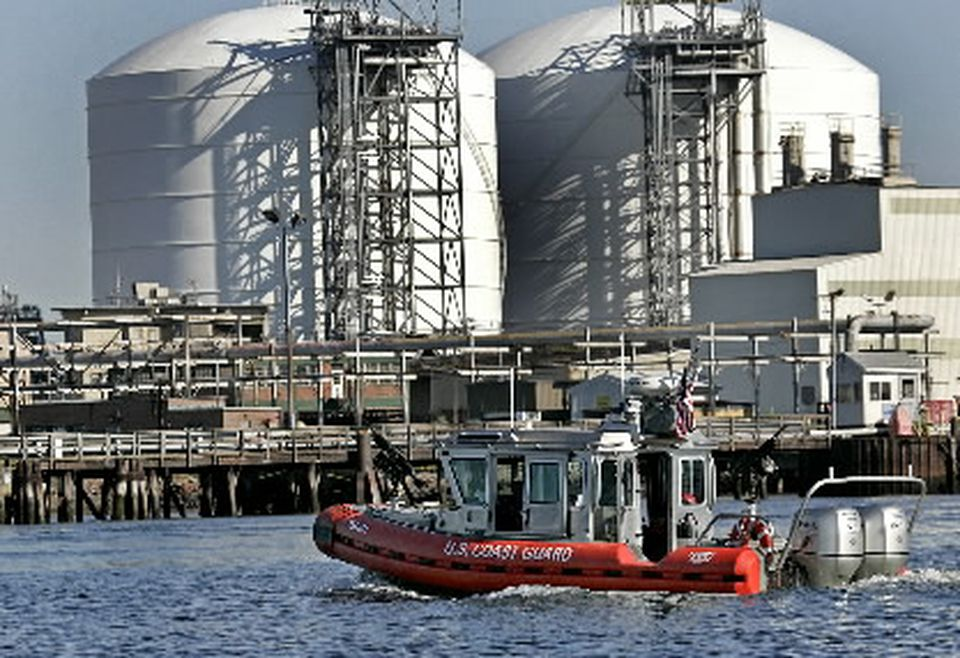 Some energy suppliers note security risks associated with LNG shipments into Boston Harbor, where a team of heavily armed security personnel are deployed in boats and along shorelines when an LNG tanker steams into the harbor.