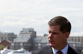Mayor Walsh spoke at a groundbreaking ceremony for a 200-unit housing development in East Boston on Thursday.
