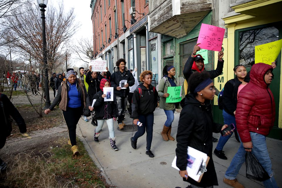 The students walked to the Boston School Department, where they had a meeting with school officials about the matter.