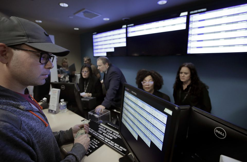 The sports book at Twin River Casino in Lincoln, R.I., opened in November.