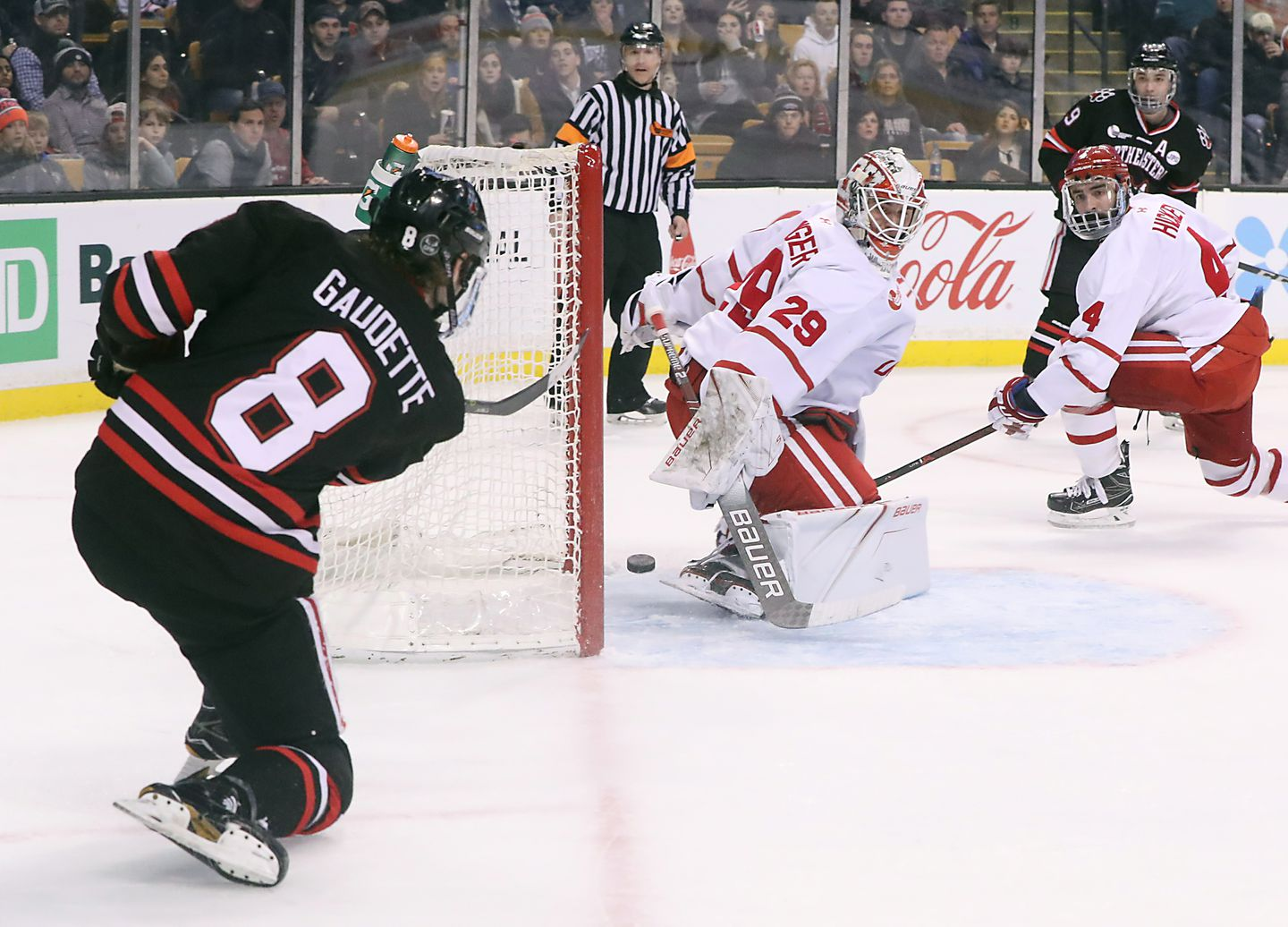Northeastern Adam Gaudette beats BU goaltender Jake Oettinger from a difficult angle in the second period for one of his three goals in the Hukies' 5-2 victory.