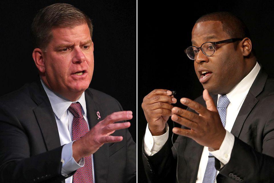 Boston Mayor Martin J. Walsh (left) holds a commanding 35-point advantage over rival Tito Jackson (right) in a new Suffolk University/Boston Globe poll.