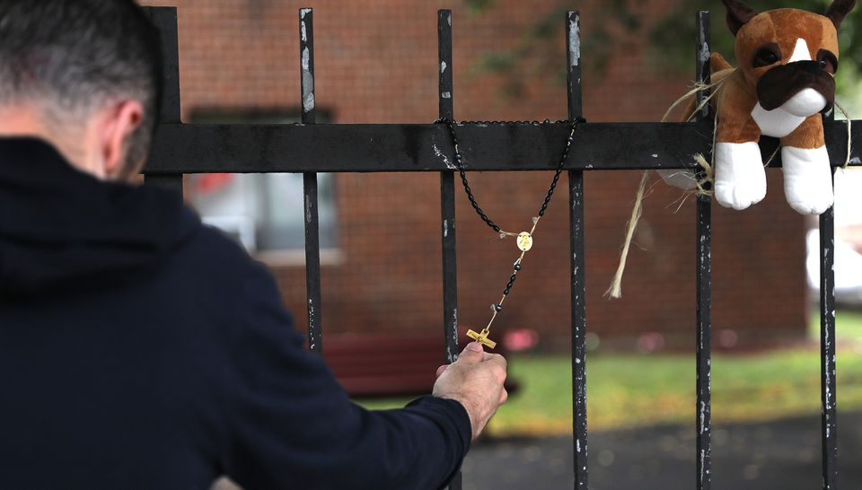 Joe Nascarella prayed and paid respects at the memorial in South Boston.