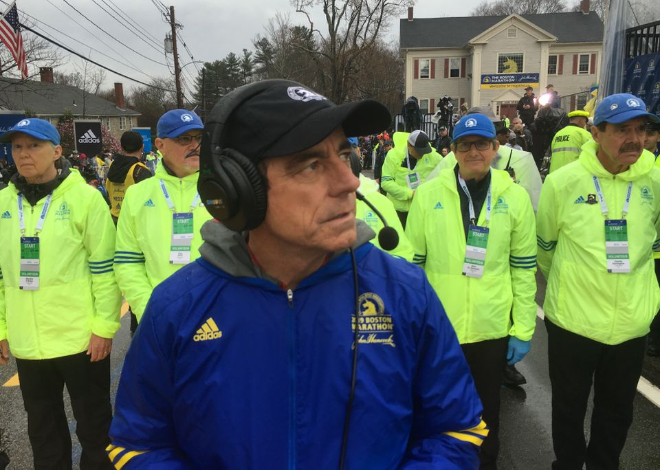 After taking care of his official duties, BAA Marathon director Dave McGillivray ran the race himself.