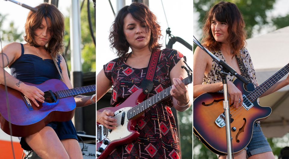 """""""It's an amazing situation where we egg each other on,"""" says Sasha Dobson (left) of her band with Norah Jones (center) and Catherine Popper."""