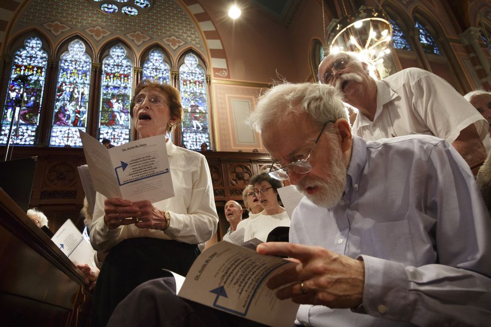 Anne Hartman, left, of Newton, and Christopher Moore, at lower right, of Belmont performed.