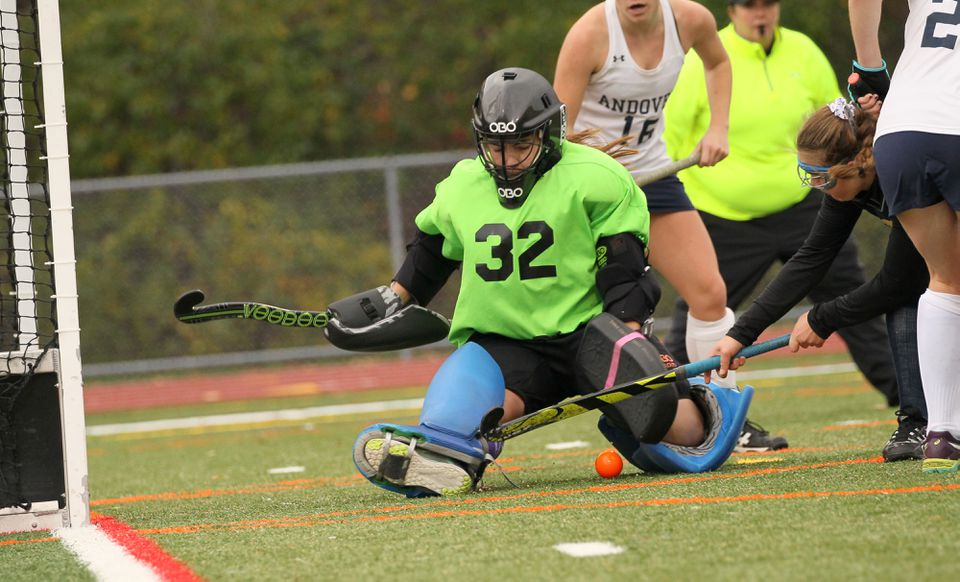 Lexington goalie Abbie Ortyl came up with this save during the team's upset of Andover.