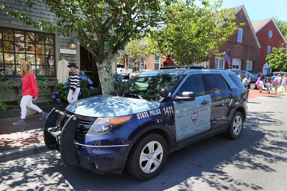 The State Police have a barracks on Nantucket. Pictured: A trooper's SUV parked on South Water Street earlier this month.