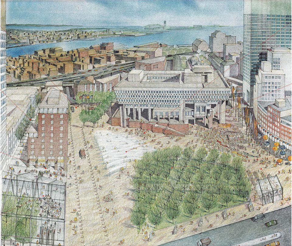 City Hall Plaza has never lived up to its artists' renderings. This 1998 plan would have restored historic Hanover Street, created an urban green and interactive fountain, and put a hotel next to the plaza.