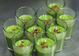Watercress soup with tomato and bacon at Hangar B Eatery.