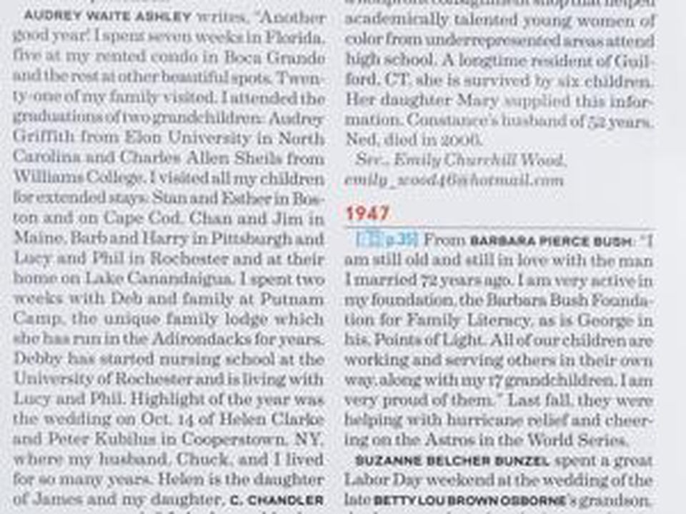 A page from Smith College's Alumnae quarterly magazine featuring an update from Barbara Bush.