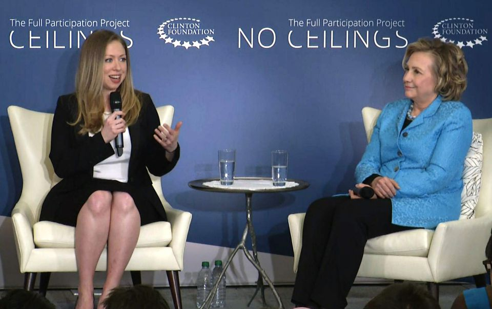 """In 2014, Chelsea Clinton, left, cohosted a Clinton Foundation event called """"Girls: A No Ceilings Conversation,"""" with her mother, Hillary Clinton."""