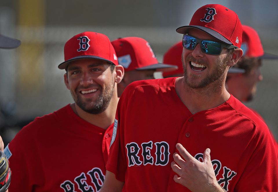 Chris Sale (right, with Nathan Eovaldi) is being brought along carefully, and that's fine with him.