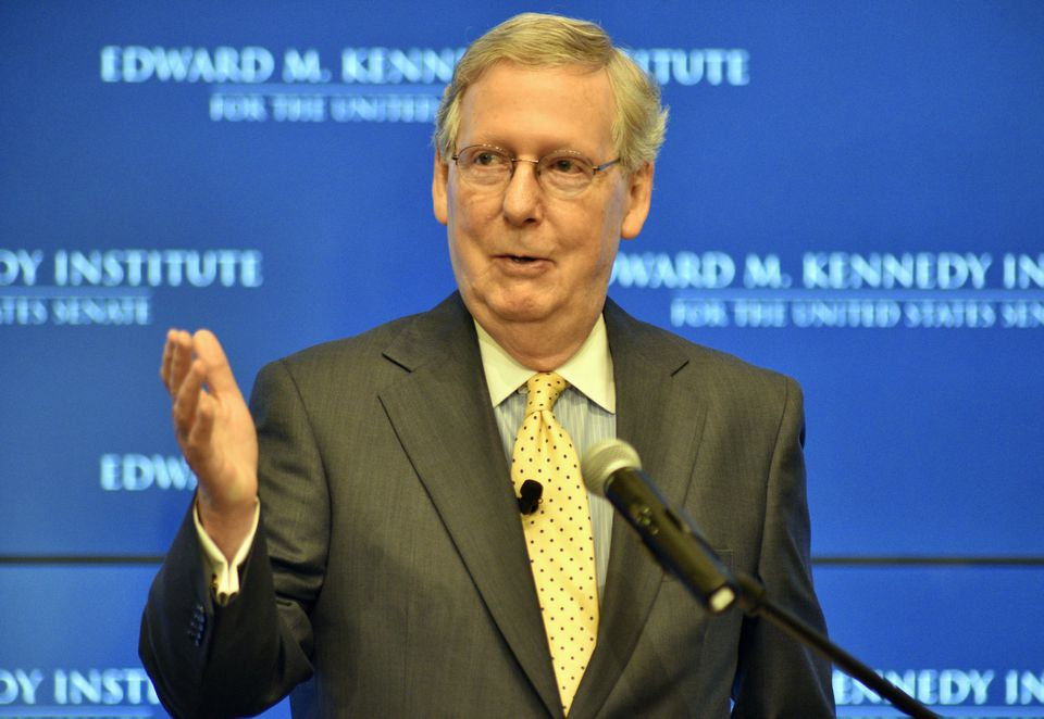 """Mitch McConnell, the Republican leader of the US Senate, spoke at the first """"Getting to the Point"""" lecture at the Kennedy Institute in Boston on Sunday."""