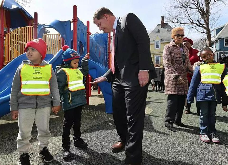 Mayor Marty Walsh greeted students at Walnut Grove Head Startt in April after he announced a $15 million investment to fully fund preschool in Boston.