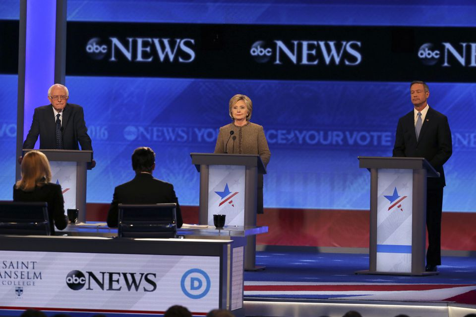 From left: US Senator Bernie Sanders, Hillary Clinton, and Martin O'Malley participated in a December debate.