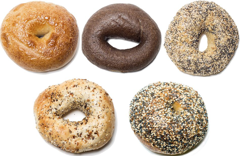 From top left, clockwise: Bagels from Levend, Mamaleh's, Bagelsaurus, Exodus, and Better Bagels.