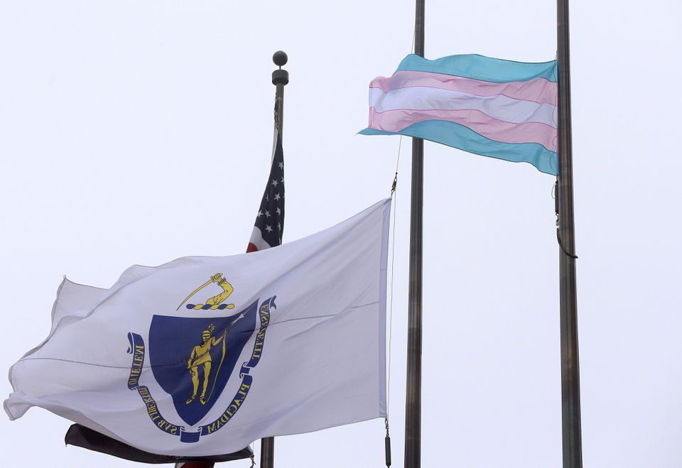 A flag representing the transgender community (right) flew in front of Boston City Hall in May.
