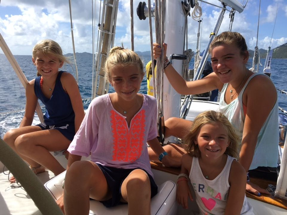 From left, Tilly, Hadley, Scotia, and Finley Crosby at sea.