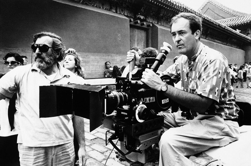 "Bernardo Berolucci checked a scene during the filming of ""The Last Emperor"" in 1987."