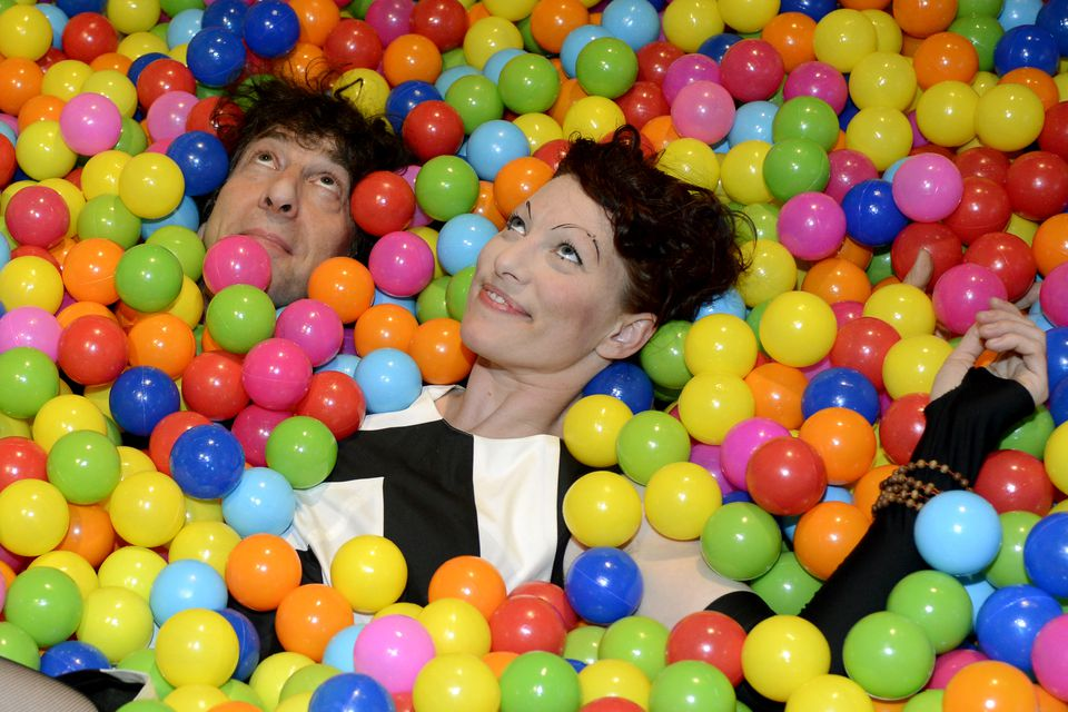 Neil Gaiman and Amanda Palmer, pictured at a SXSW party in Austin, Texas in 2013. The couple is celebrating the arrival of a  baby boy, Anthony.