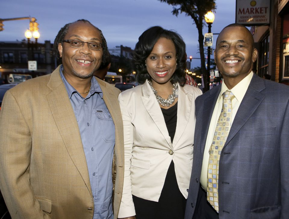 Boston City Councilor Ayanna Pressley (center) at the 10th anniversary of the Brian J. Honan Foundation, in 2012. Gareth Saunders of Dorchester is at left, and Wayne Dozier of Brockton is at right.