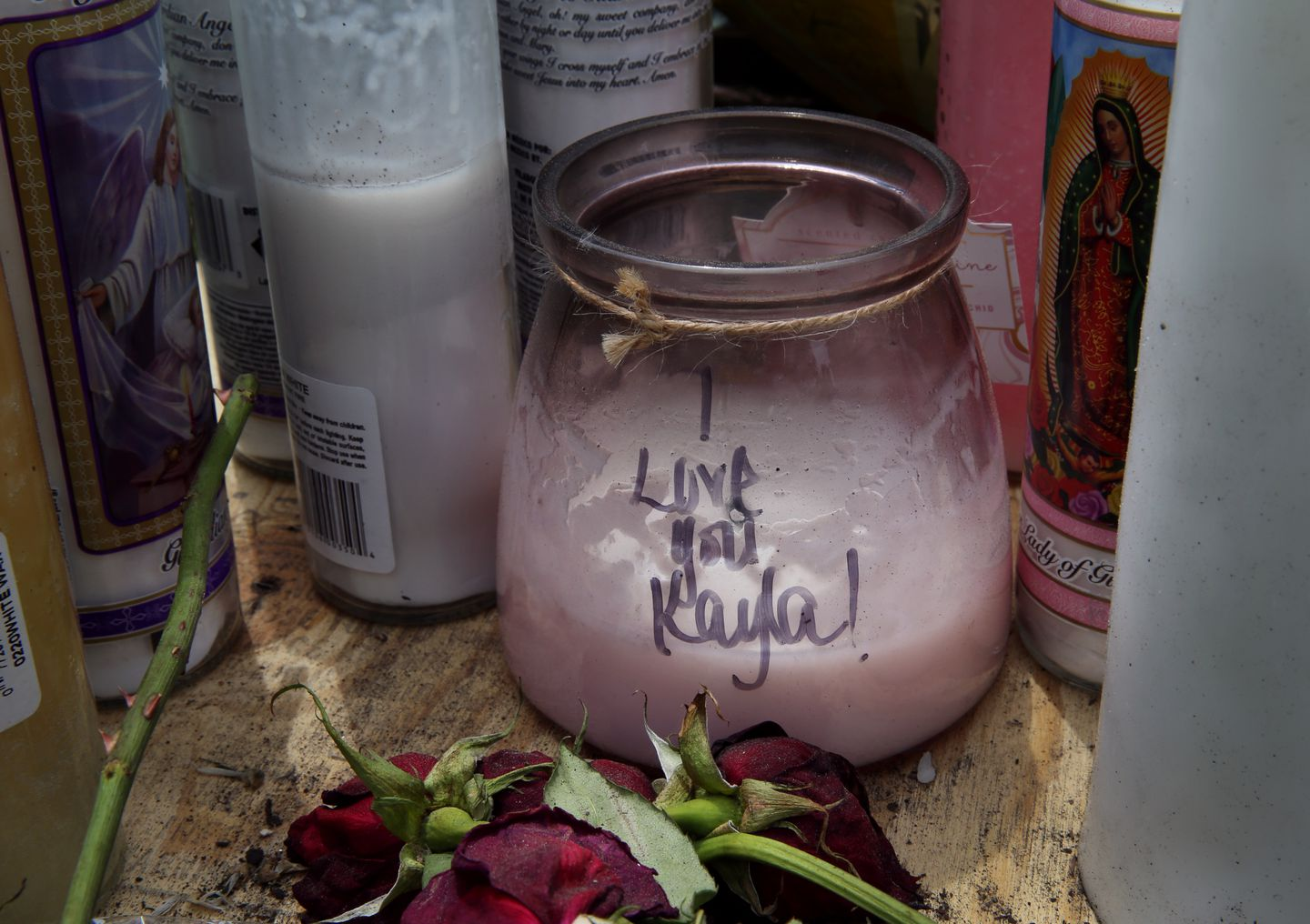 A makeshift memorial for the women found at Weldon's Springfield home.
