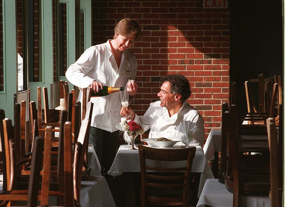George Germon (right) and his wife, Johanne Killeen, opened Providence's Al Forno in 1980.