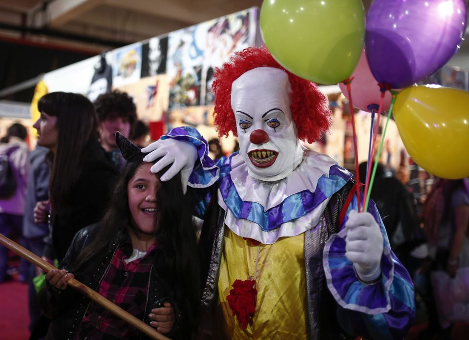 """A man dressed as the clown from """"It"""" at July's Anime Friends event in Buenos Aires."""