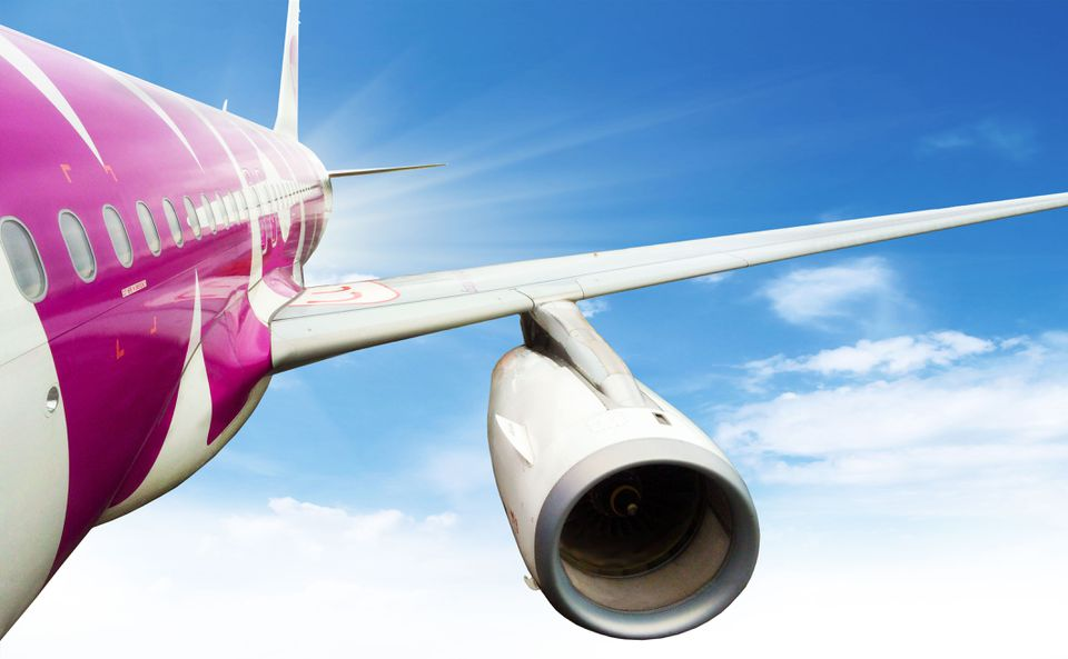 A plane from WOW Air out of Iceland.