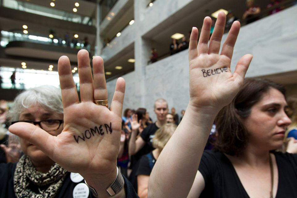 Protestors gathered in the Hart Senate Office Building on Sept. 27 in Washington, DC, in support of Christine Blasey Ford.