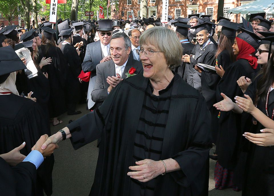 Then-Harvard University president Drew Faust greeted students before the school's commencement ceremonies in May.