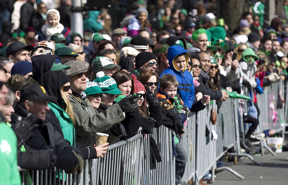 The crowd watched the 2013 St. Patrick's Day parade on East Broadway in South Boston.