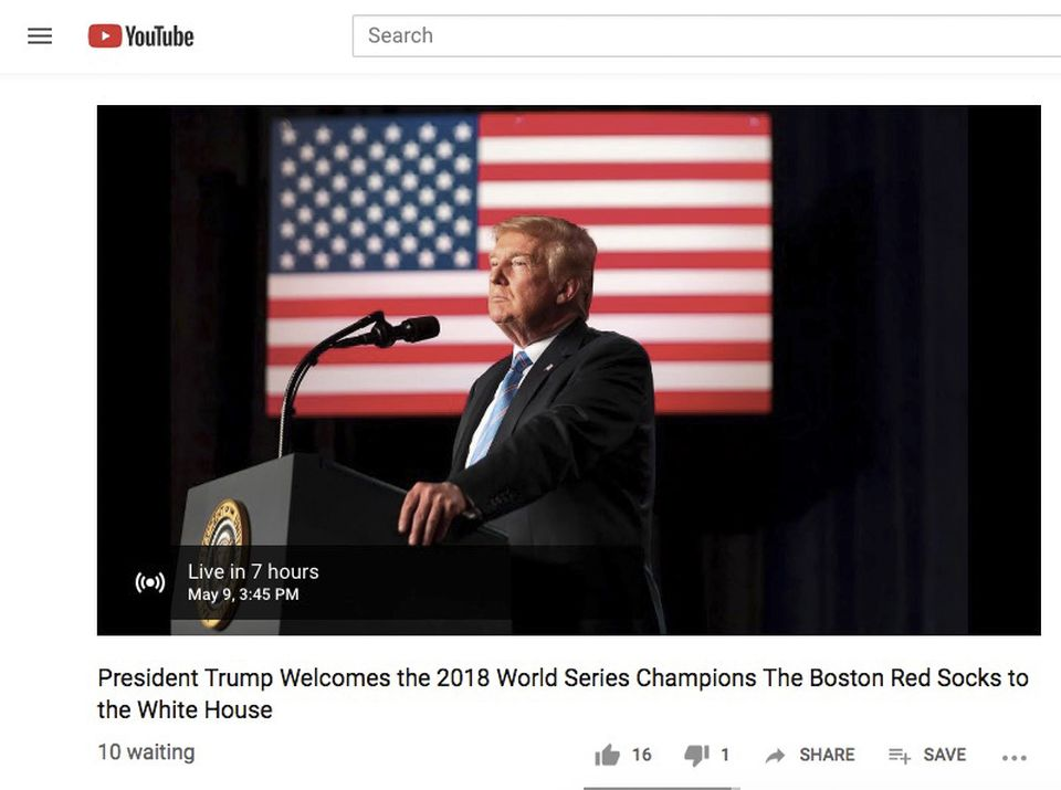 383123895fe Screen grab from White House YouTube  The White House misspelled Red Sox as
