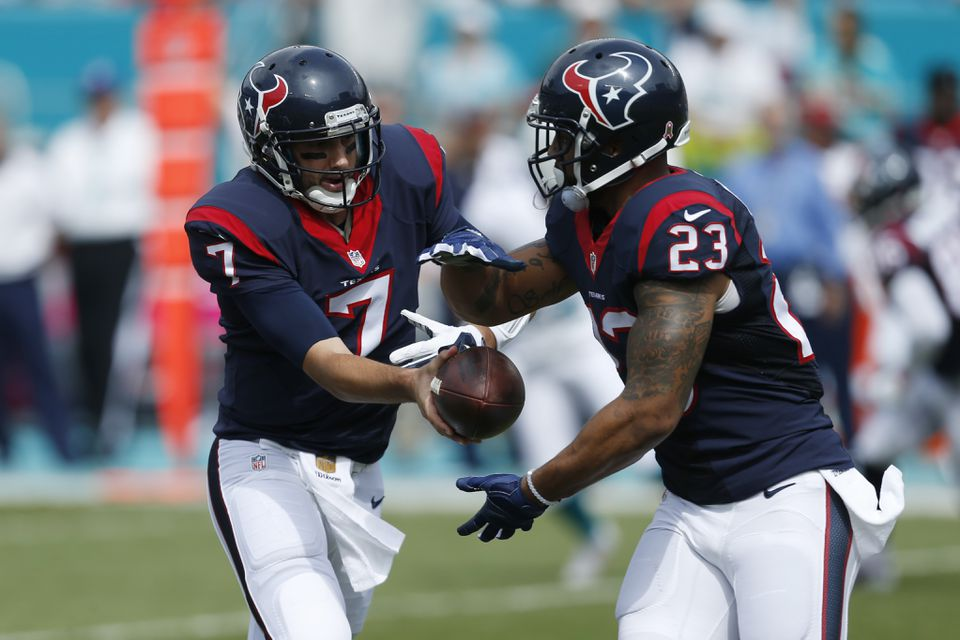 After returning from a groin injury, Arian Foster (23) was a big part of Houston's game plan. Now quarterback Brian Hoyer (7) will have to hand the ball off to someone else.
