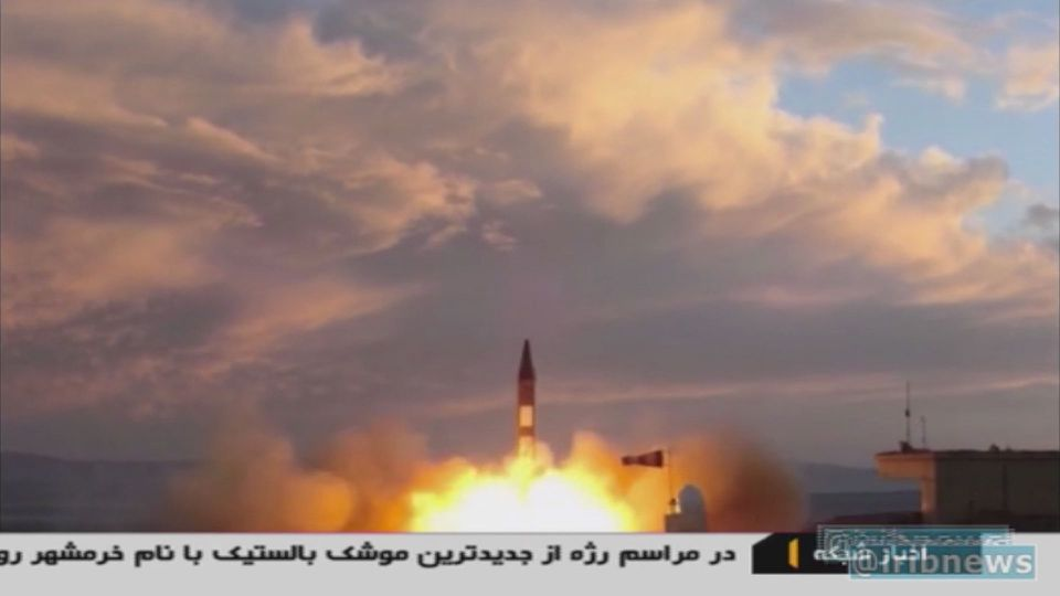 Iranian Republic Islamic Broadcasting (IRIB) shows a Khoramshahr missile being launched from an undisclosed location on Sept. 23, a day after the missile was first displayed at a high-profile military parade in Tehran.