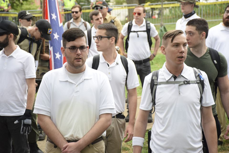 James Alex Fields Jr. (left) in a crowd of white nationalists in Charlottesville, Va.