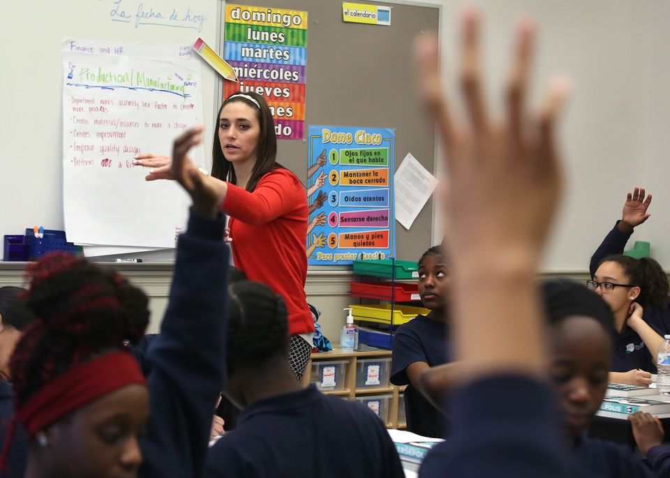 Teacher Chelsea Azzari led a discussion in her English class at the Brooke Charter Schools' Mattapan campus.