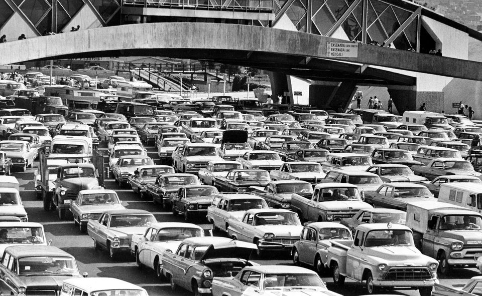 """""""Operation Intercept,"""" a campaign by President Nixon to stop the narcotics and marijuana smuggling, caused gigantic traffic jams at the US border to Mexico in 1969."""