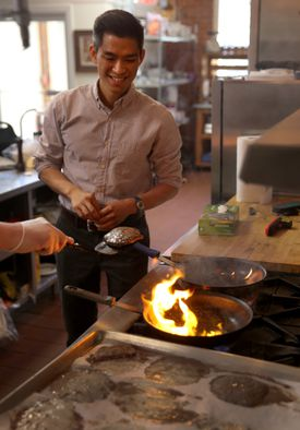 Entrepreneur Adrian Wong  juggled two jobs — at Morgan Stanley and at a Chipotle — to learn the restaurant business in preparation for the launch of his company, Beta Burger.