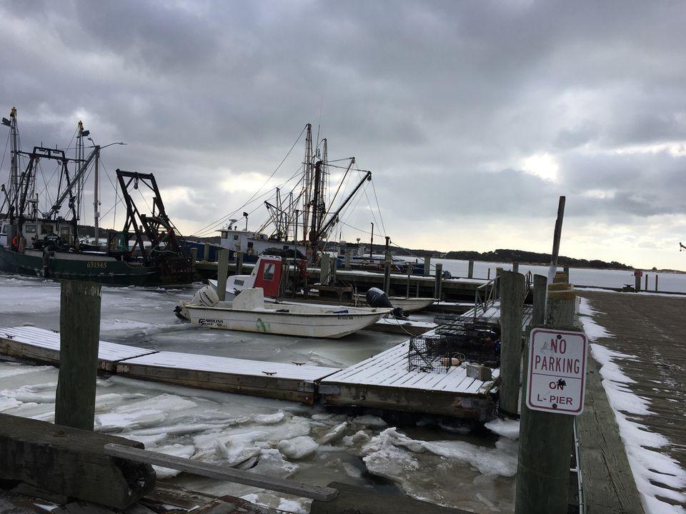 Ice in Wellfleet Harbor on Tuesday.