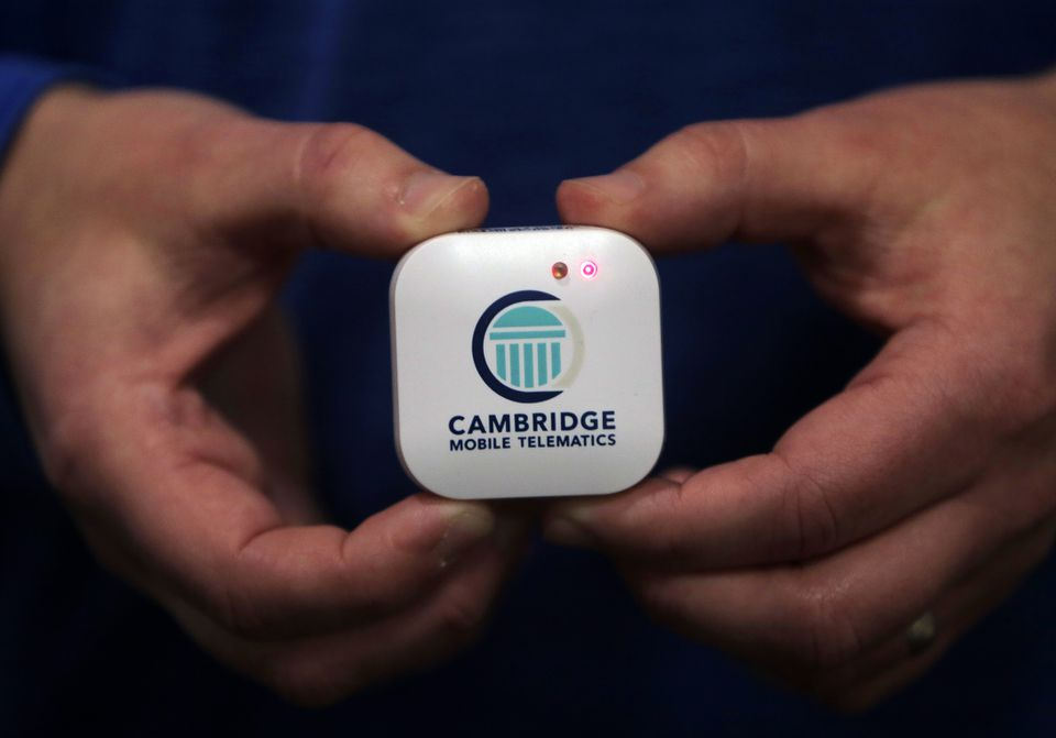 A sensor made by Cambridge Mobile Telematics can detect crashes when placed in a vehicle.