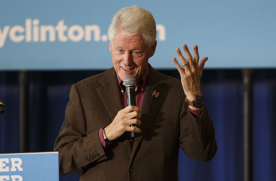 Former president Bill Clinton shown at a New Hampshire campaign stop for his wife, Hillary Clinton, in 2016.