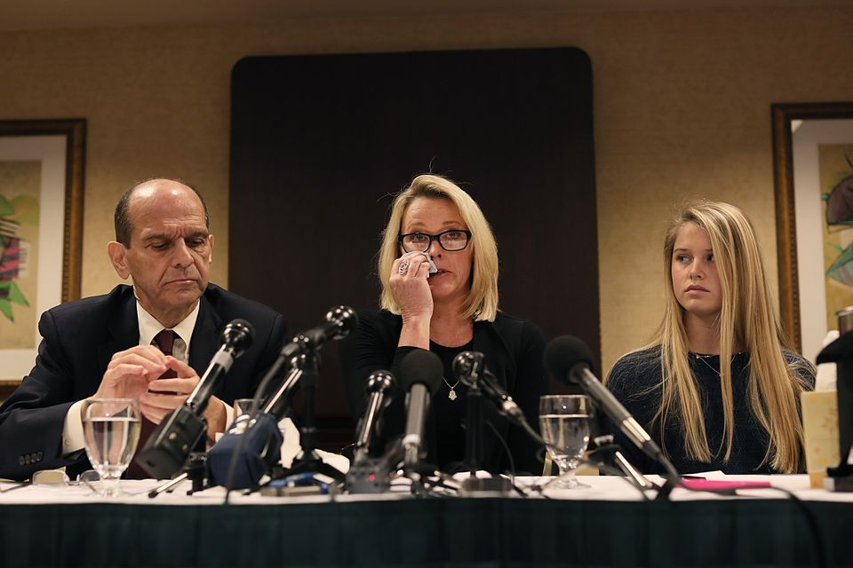 Former Boston news anchor Heather Unruh (center) held a press conference to discuss the allegations that her son was allegedly sexually abused by actor Kevin Spacey.