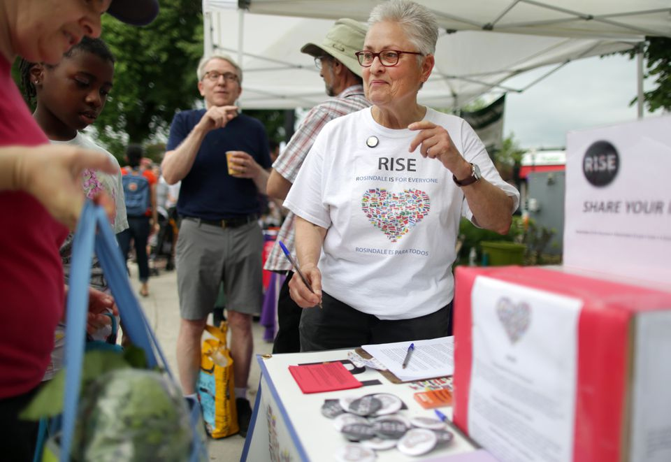 Aileen Montour, seen at the Roslindale Farmers Market, is part of a group working to make sure there is senior housing where gays and lesbians can feel comfortable.