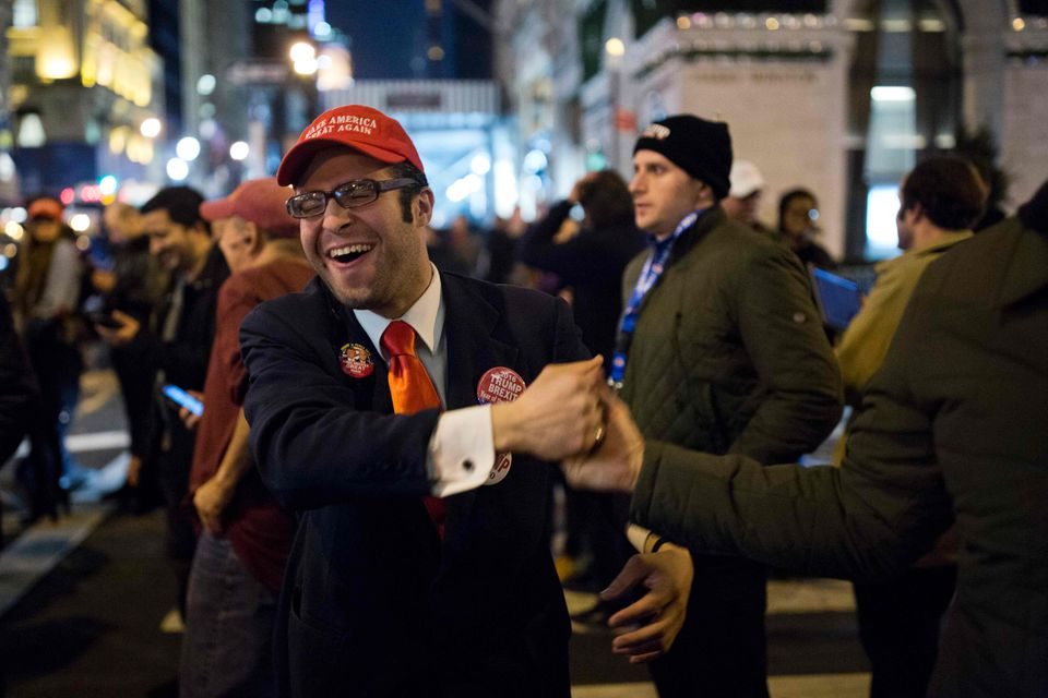 Donald Trump supporters celebrated the win outside Trump Tower in New York on election night.