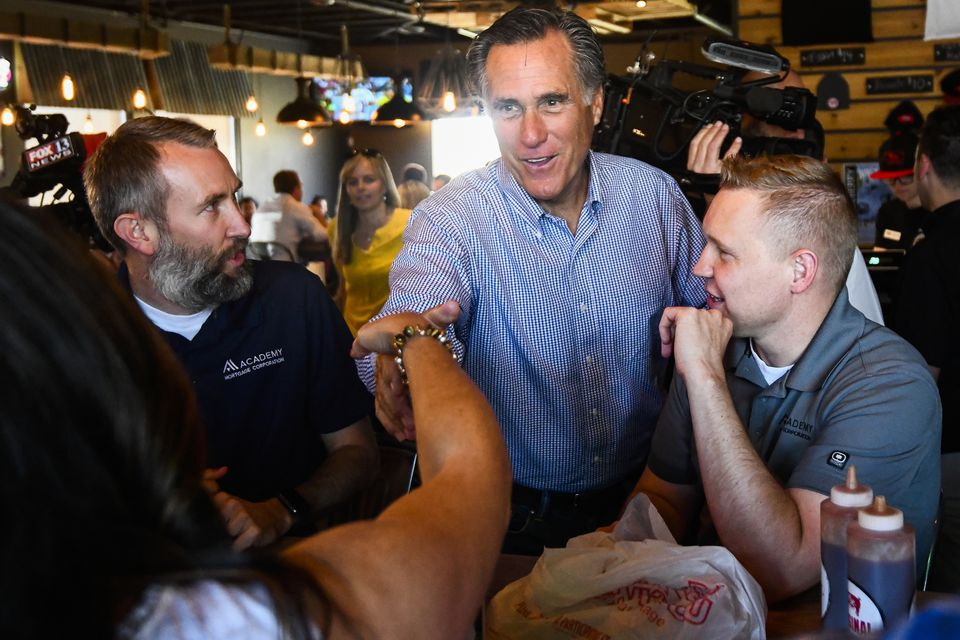 Mitt Romney campaigned at R&R BBQ in South Jordan, Utah, on Tuesday.