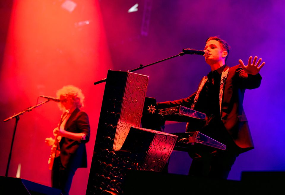 Brandon Flowers (right) and Dave Keuning of the Killers.