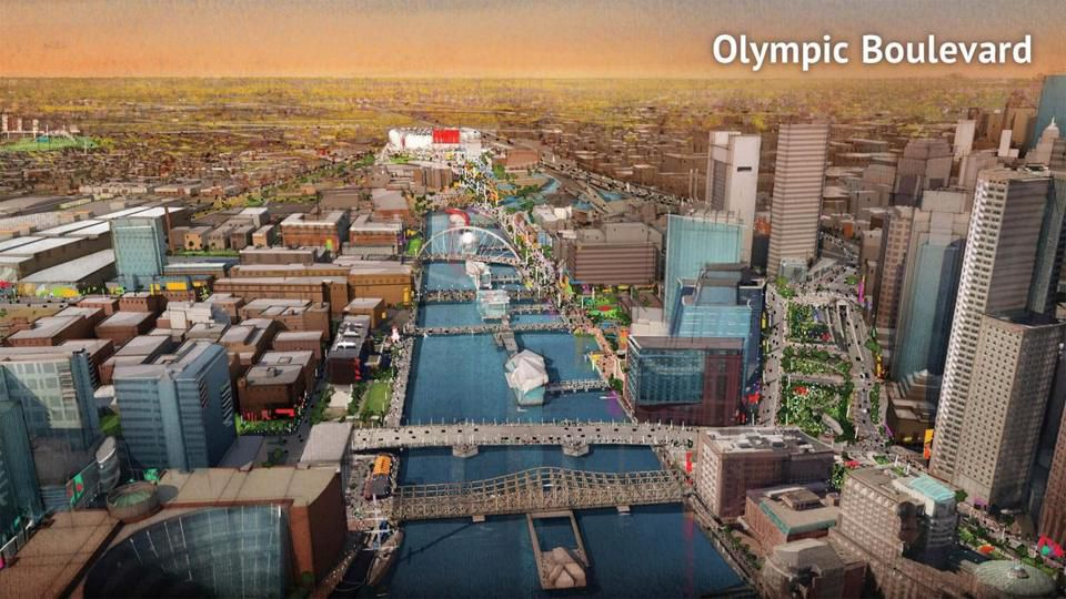 A conceptual rendering shows the Olympic Boulevard concept.